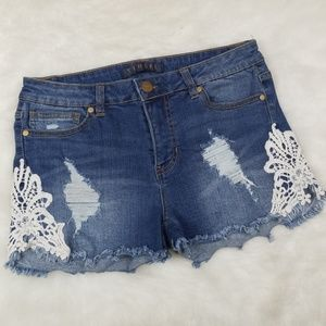 Tinsel denim shorts